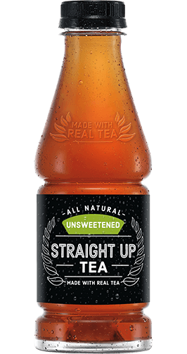 Bottle of Unsweetened Straight Up Tea made with real tea