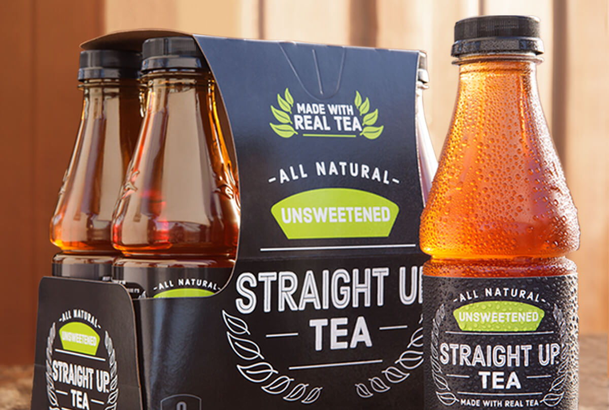 Six-pack of Unsweetened Straight Up Tea made with real tea
